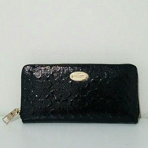 Coach Bags - Coach Black Patent Leather Zip Wallet